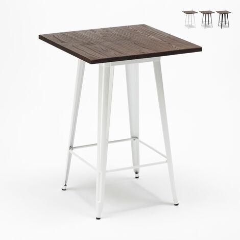 Table haute pour tabourets Tolix industriel en métal acier et bois 60x60 Welded