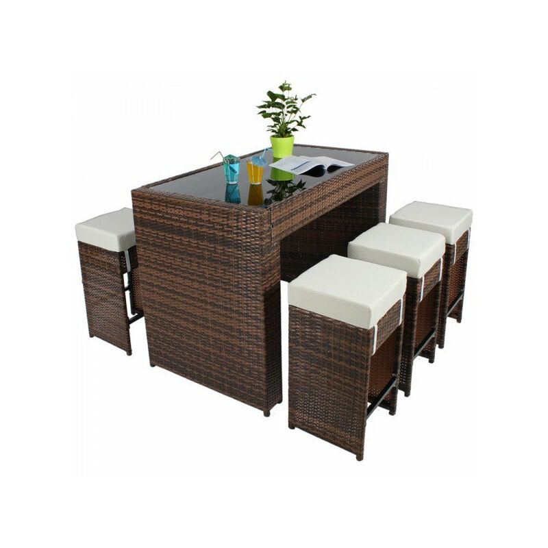 Table haute salon de jardin rotin résine tressé synthétique + 6 tabourets  rotin marron