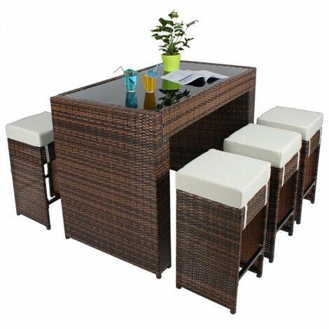Table haute salon de jardin rotin résine tressé synthétique + 6 ...