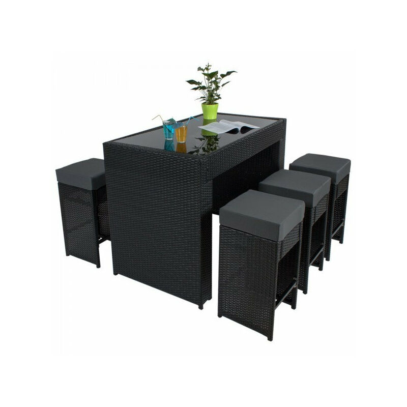 Table Haute Salon De Jardin Rotin Résine Tressé Synthétique 6 Tabourets Rotin Noir