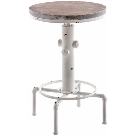 Table haute table de bar style industriel hauteur réglable blanc vieilli