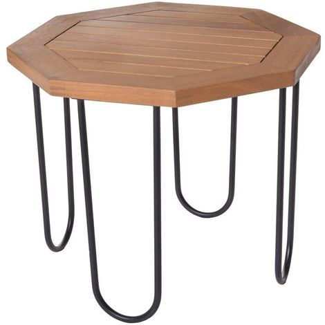 Table HEXAGONALE SALMA Acacia extérieur 45 X 45 X 36 cm