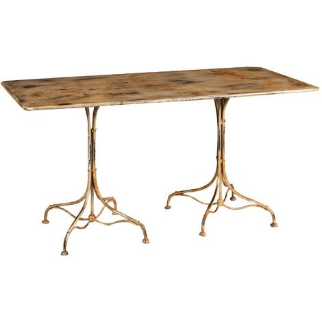 TABLE IN WROUGHT IRON ANTIQUE CREAM FINISH