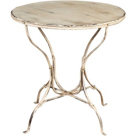 TABLE IN WROUGHT IRON ANTIQUE WHITE FINISH