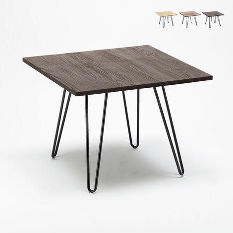 Table industrielle en acier métal et bois 80x80 bar et maison Hammer