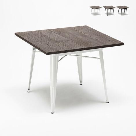 Table industrielle Tolix en acier métal et bois 80x80 bar et maison Allen
