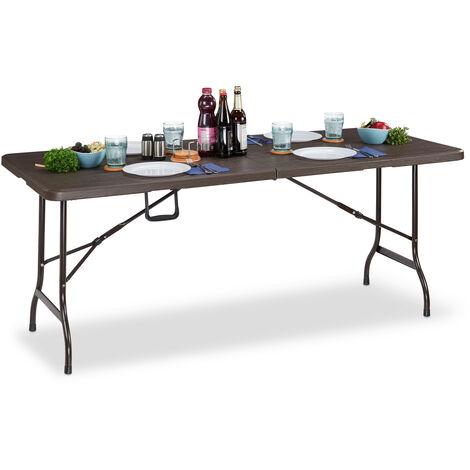 """main image of """"Table jardin, effet bois, carrée pliable, barre de sécurité, poignée, HxlxP73x180x74cm, marron"""""""