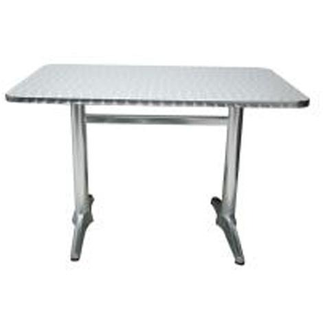 Table jardin en aluminium avec plateau en acier coloris alu - Dim : H 70 x  L 110 x P 70 cm