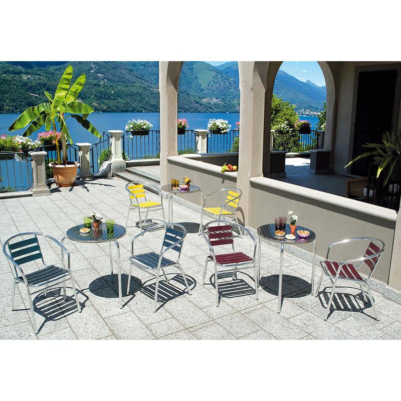 Pegane - Table jardin en aluminium et plateau en acier - Dim : H 70 x Ø 60 cm