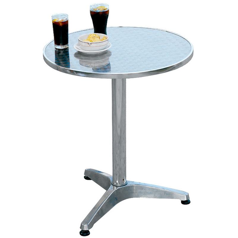 Pegane - Table jardin en aluminium et plateau en acier - Dim : H 71 x Ø 60 cm