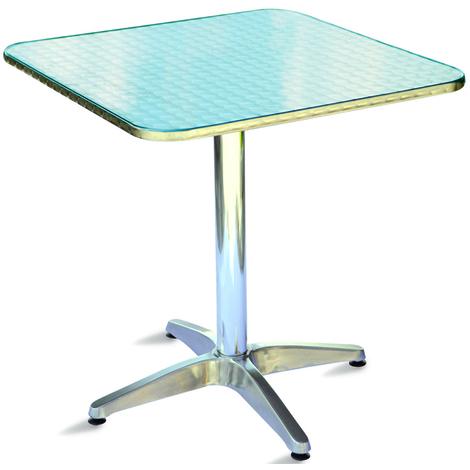 Table jardin en aluminium et plateau en acier forme carré - Dim : H ...