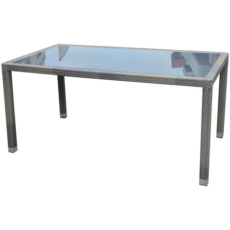 Table jardin en Tressage Wicker coloris havane avec plateau en verre trempé  opaque - Dim : 77 x 210 x 110 cm