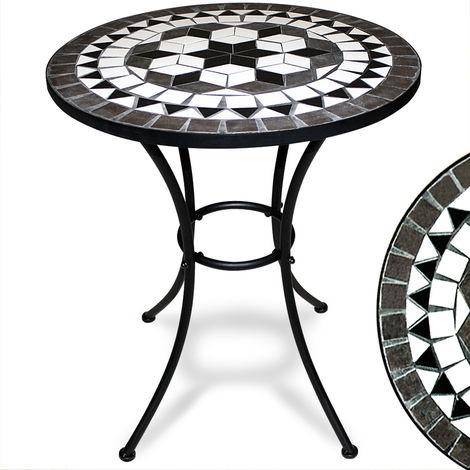 Table jardin fer forgé et mosaïque ROMA 60 cm - Table terrasse ...