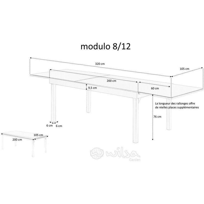 Table jardin full aluminium Modulo 200 à 320 cm - 600260