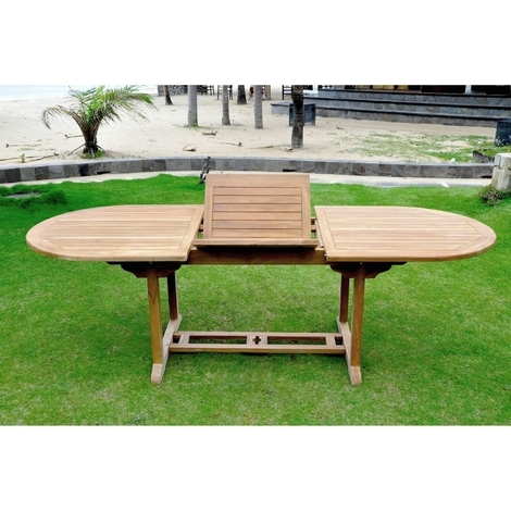 Table Kajang 10 : table de jardin ovale extensible en teck brut 10 ...