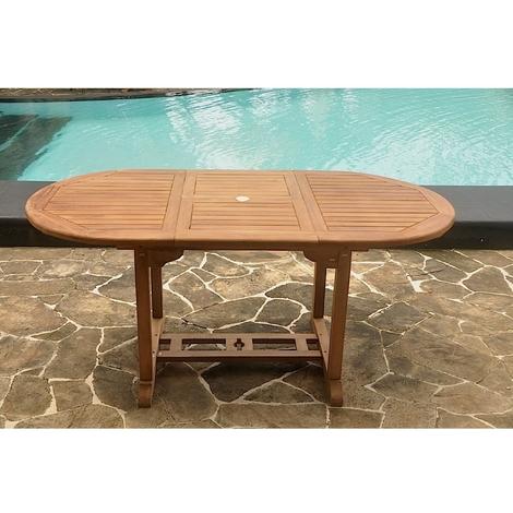 Table Kajang 6 : table de jardin ovale extensible en teck brut 6 personnes