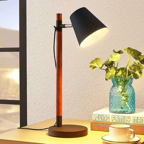 Table lamp Birte, black with wooden element