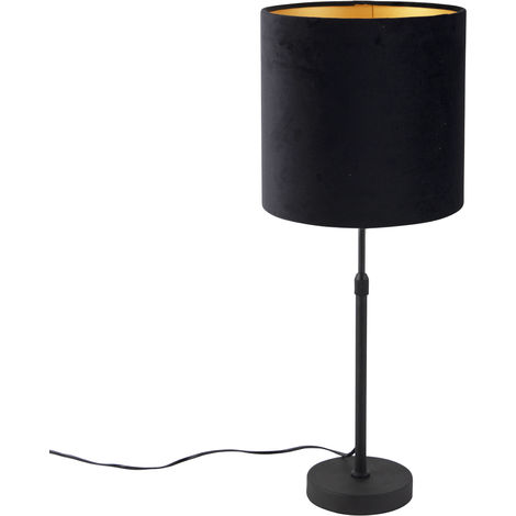 Table lamp black with velor shade black with gold 25 cm - Parte