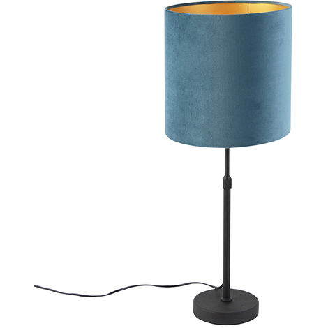 Table lamp black with velor shade blue with gold 25 cm - Parte