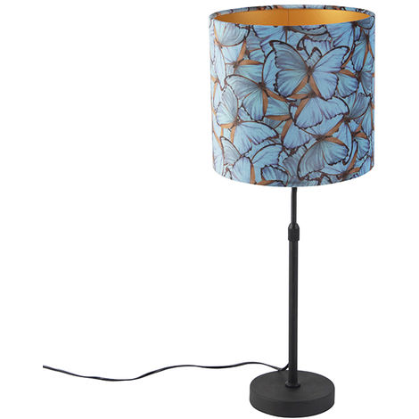 Table lamp black with velor shade butterflies with gold 25 cm - Parte
