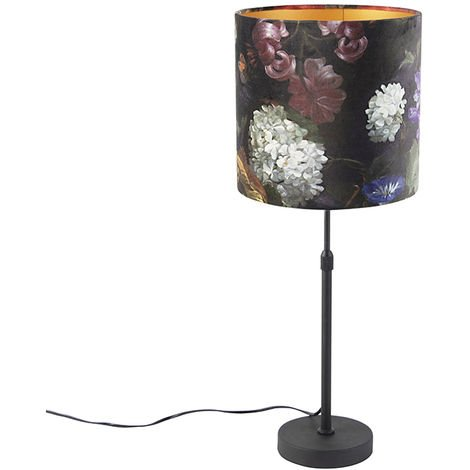 Table lamp black with velor shade flowers with gold 25 cm - Parte