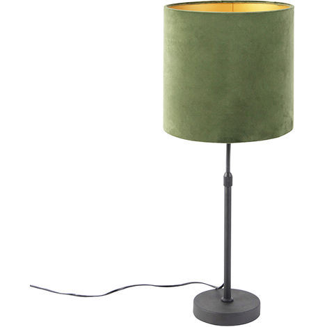 Table lamp black with velor shade green with gold 25 cm - Parte