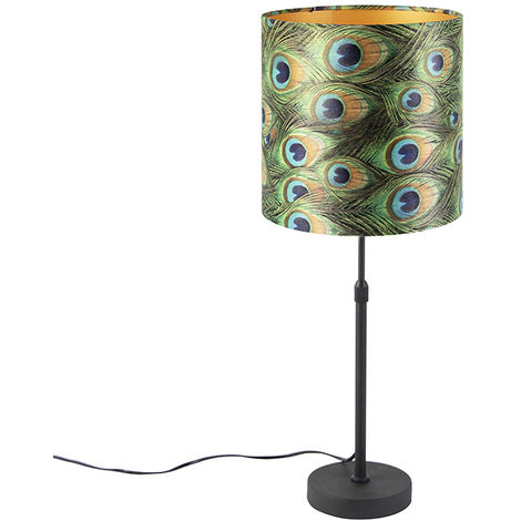 Table lamp black with velor shade peacock with gold 25 cm - Parte