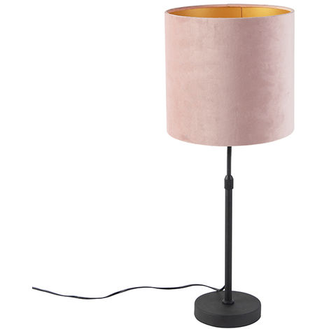 Table lamp black with velor shade pink with gold 25 cm - Parte