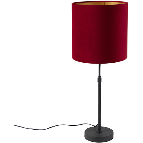 Table lamp black with velor shade red with gold 25 cm - Parte