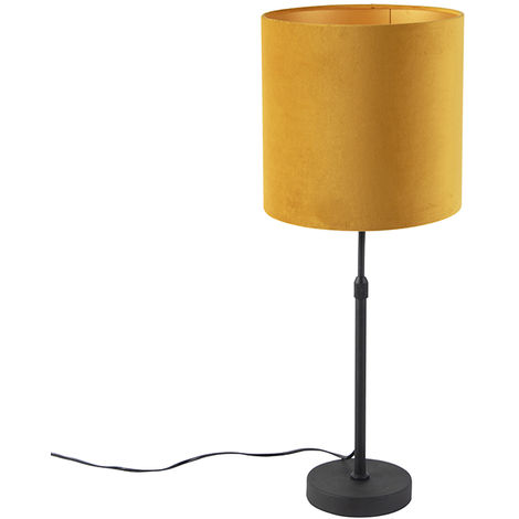 Table lamp black with velor shade yellow with gold 25 cm - Parte