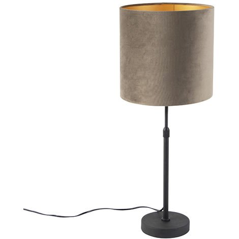 Table lamp black with velvet shade taupe with gold 25 cm - Parte