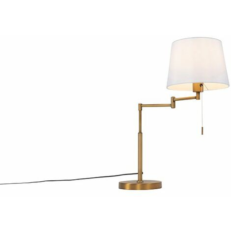 Table lamp bronze with white shade and adjustable arm - Ladas