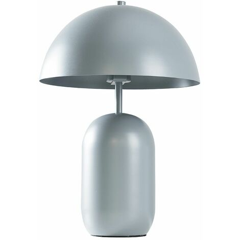 Table Lamp Chromegrey Metal Light Curved Shade