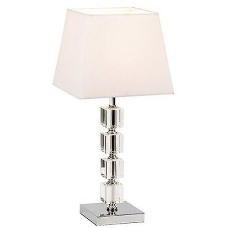 Table Lamp - Clear Acrylic Cubes White Cotton Mix/Cream Fabric Shade