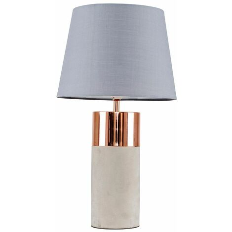 Table Lamp Copper & Cement Finish Base Shades E14