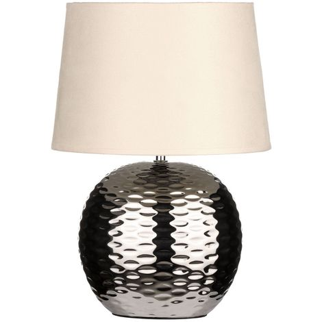 Table Lamp Dimple Effect Chrome Base Beige Fabric Shade - Lighting Decor
