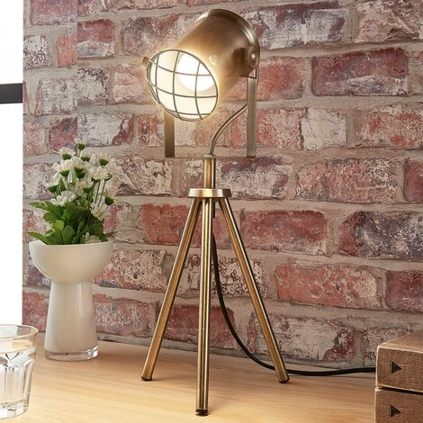 Table Lamp 'Ebbi' (modern) in Bronze made of Metal (1 light source, E14, A++) from Lindby | Desk Lamps