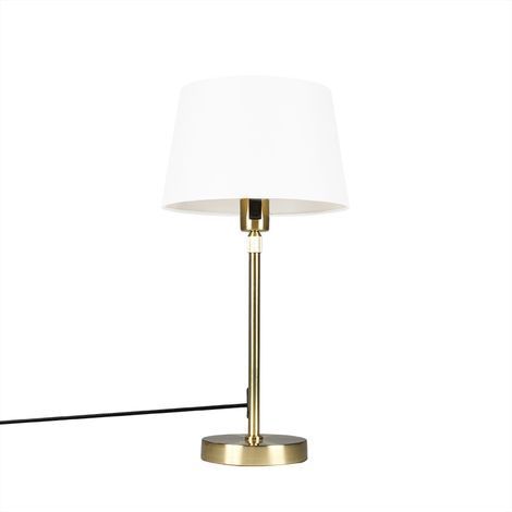 Table lamp Gold/Brass with 25cm White Shade - Parte