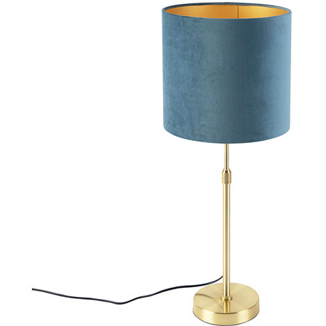 Table lamp gold / brass with velor shade blue 25 cm - Parte