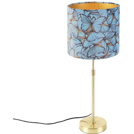 Table lamp gold / brass with velor shade butterflies 25 cm - Parte