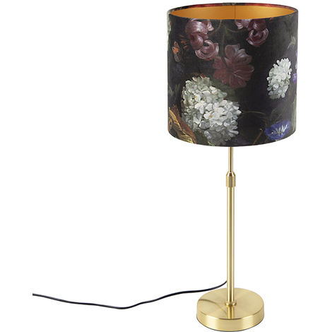 Table lamp gold / brass with velor shade flowers 25 cm - Parte