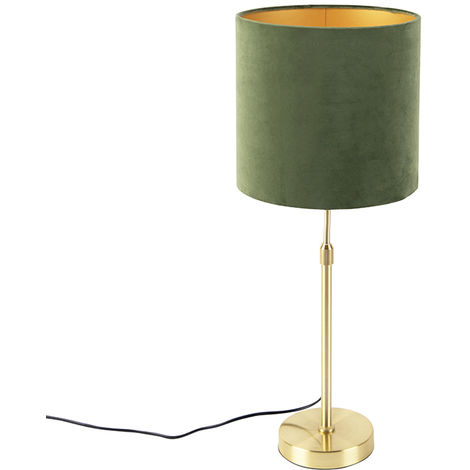 Table lamp gold / brass with velor shade green 25 cm - Parte
