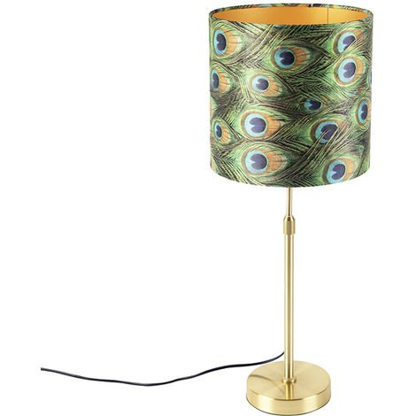 Table lamp gold / brass with velor shade peacock 25 cm - Parte