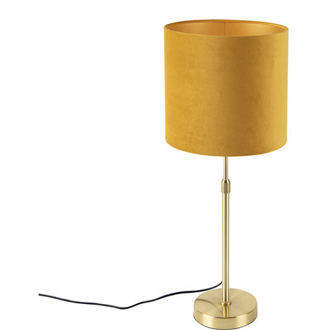 Table lamp gold / brass with velor shade yellow 25 cm - Parte