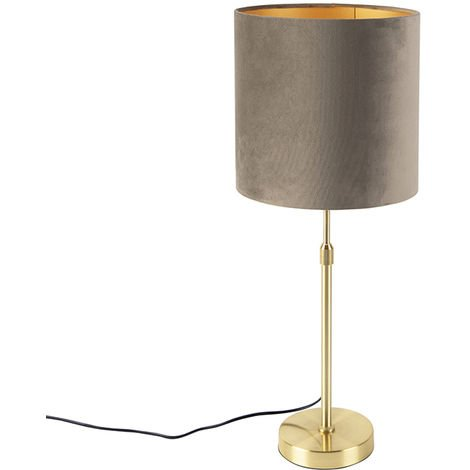 Table lamp gold / brass with velvet shade taupe 25 cm - Parte