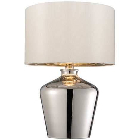 Table Lamp High Shine Chrome Plated Glass Ivory Faux Silk Shade