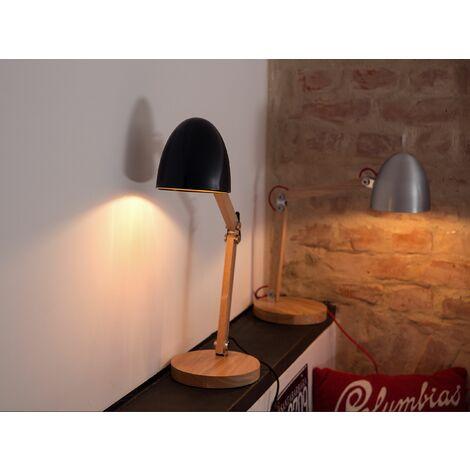 Table Lamp Light Wood and Black VELEKA