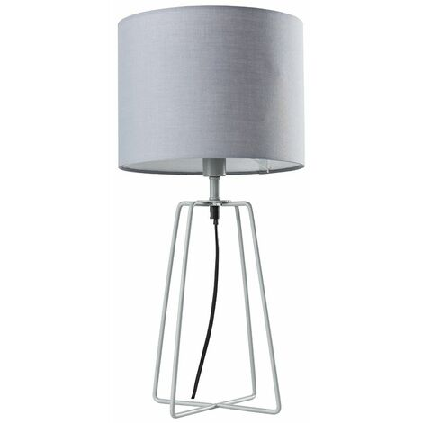 Table Lamp Living Room Lighting Grey Metal Lampshade