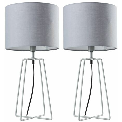 Table Lamp Living Room Lighting Grey Metal Lampshade Pair