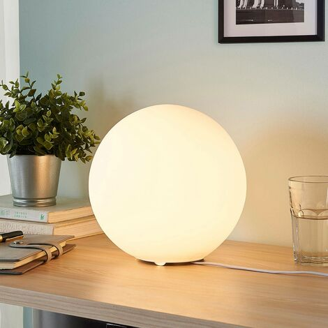 Table Lamp 'Marike' (modern) in White made of Glass (1 light source, E27, A++) from Lindby | windowsill lamp, lamps & lights for windows